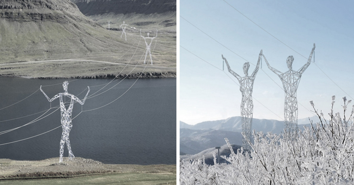 Architects Turn Icelands Boring Electricity Pylons Into Giant - Architects turn icelands electricity pylons into giant human statues