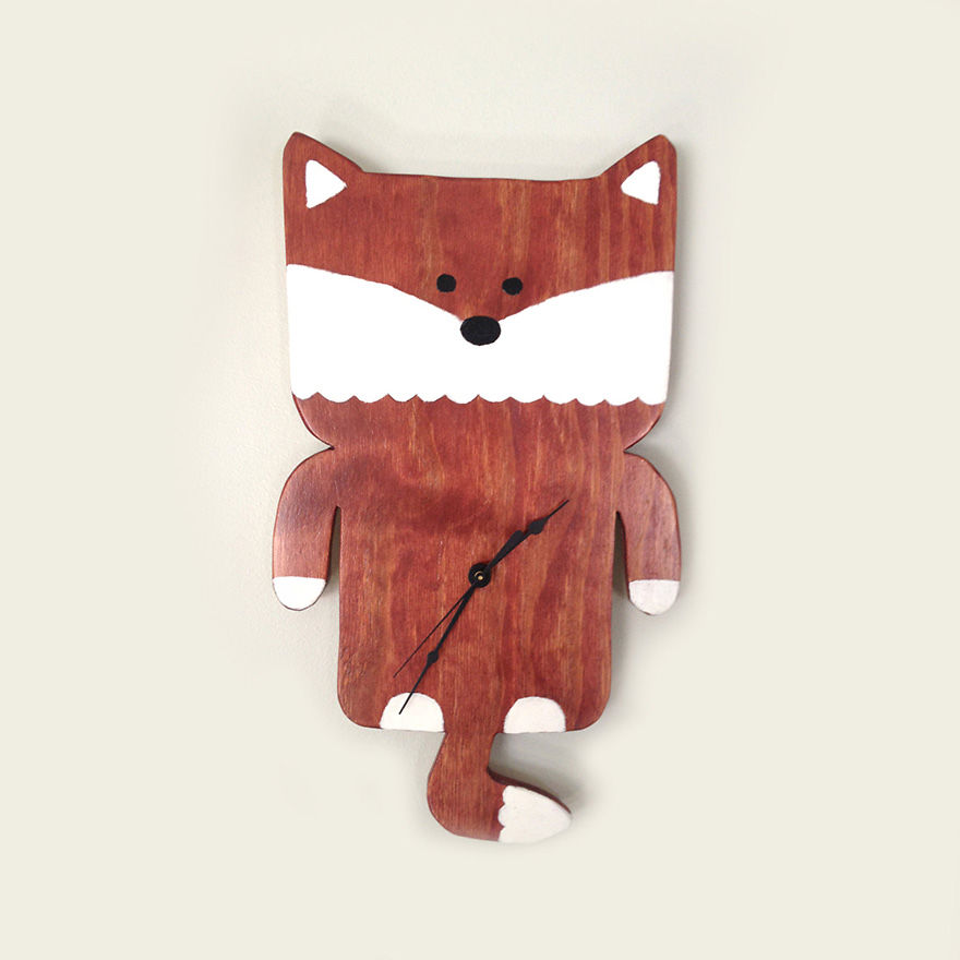 Wooden Fox Clock
