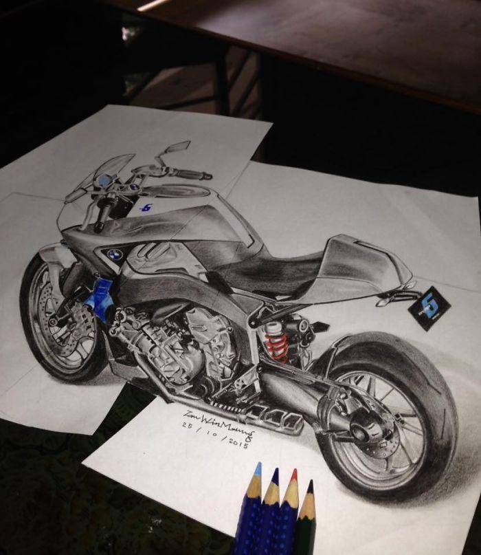I Drew A 3d Bmw Motorbike