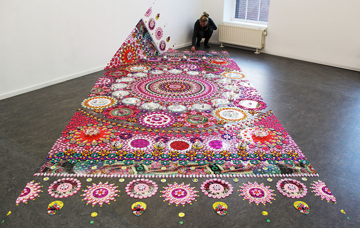Artist Puts 1000s Of Glittering Gems On Floors, Walls, and People To Create Kaleidoscopic Mandala Art