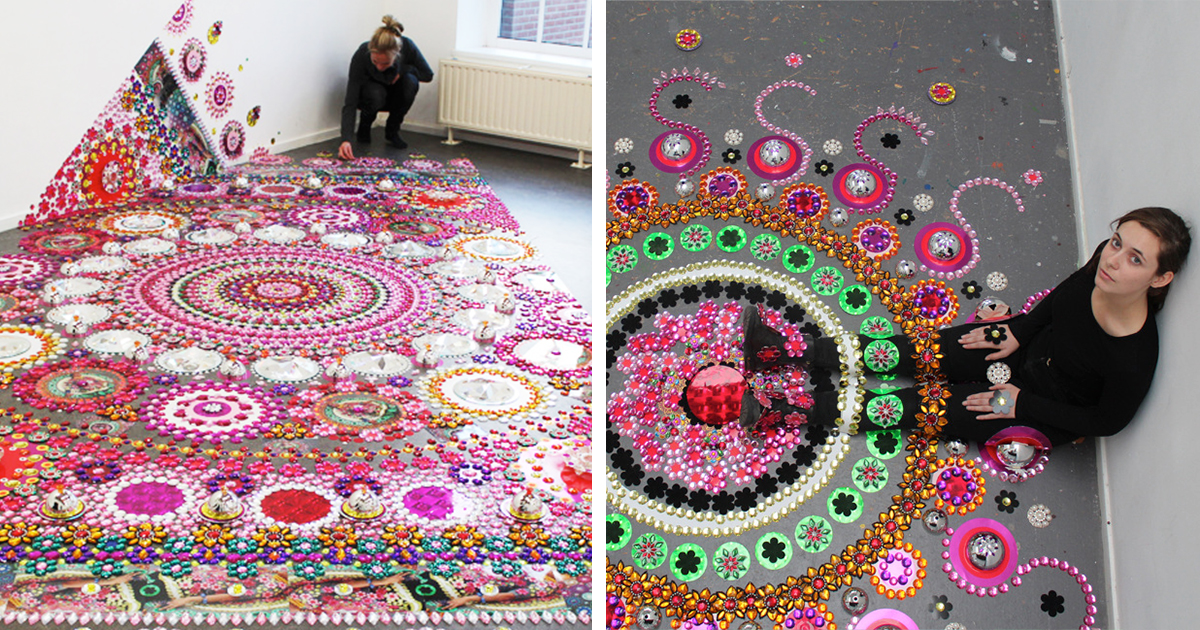 Artist Puts 1000s Of Glittering Gems On Floors Walls And