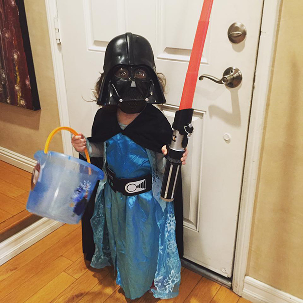 This Is My Three Year Old This Year. She Couldn't Decide Between Vader Or Elsa