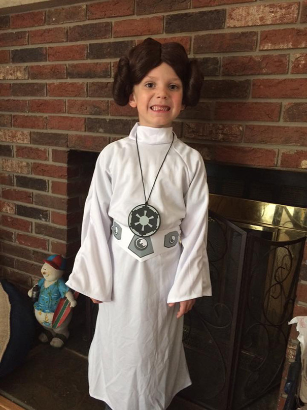My 6 Year Old Son As Princess Leia. He Was Elsa Last Year