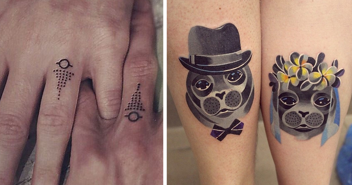 13+ Brave Couples Who Chose Matching Wedding Tattoos Instead Of Rings