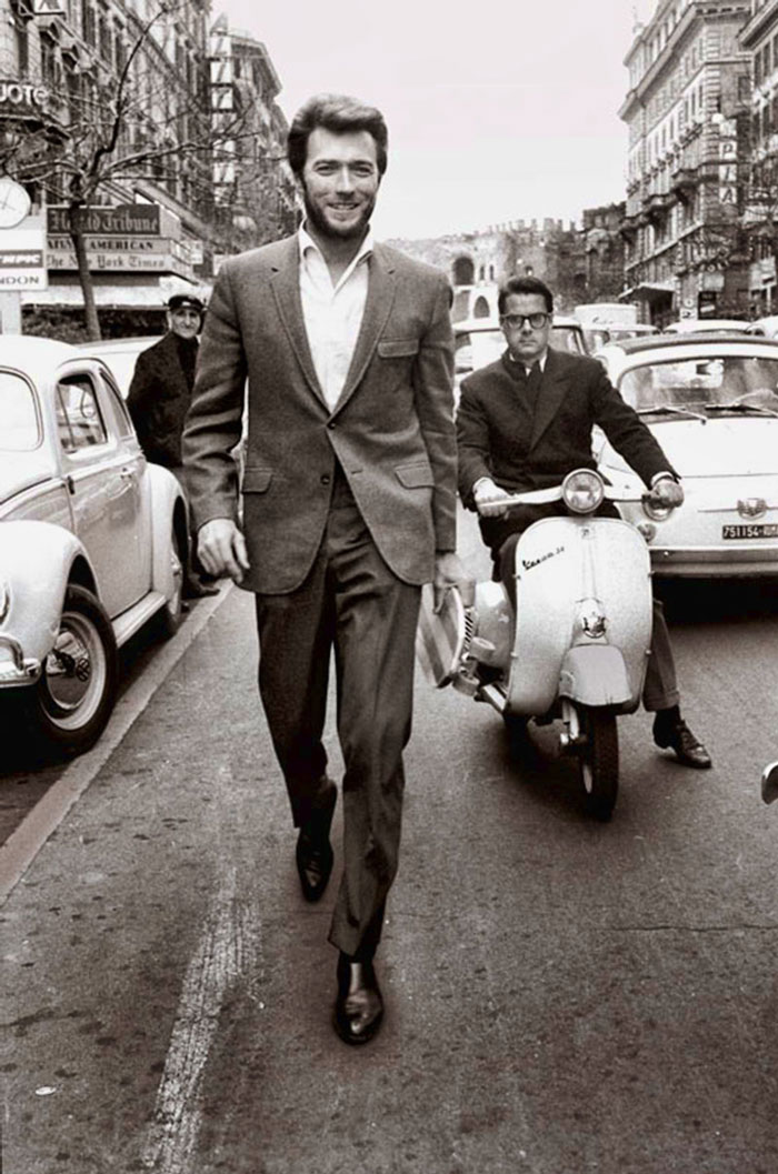 Clint Eastwood Walking In Rome (1960s)