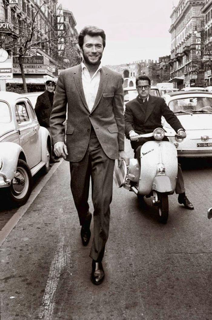 Clint Eastwood Walking In Rome (1960s)