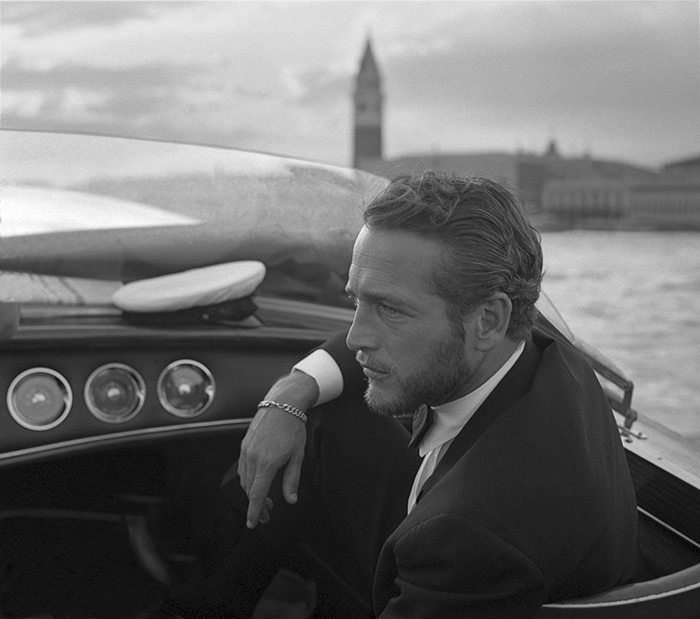 American Actor Paul Newman During A Trip On A Water Taxi In Venice (1963)