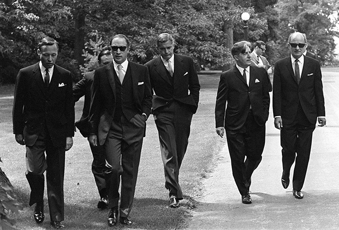 Prime Minister Pierre Trudeau Arrives With Members Of His New Cabinet For Swearing In Ceremonies At Government House In Ottawa (1968)
