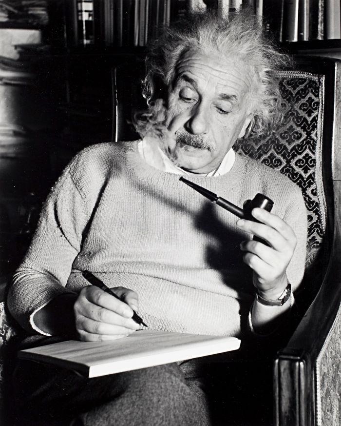 Albert Einstein Smoking A Pipe (1940)