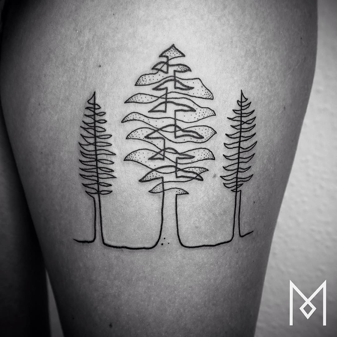 Black Line Drawing Tattoo : One continuous line tattoos by iranian german artist mo