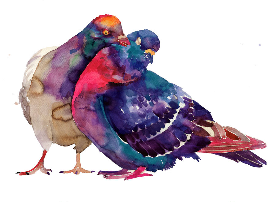 Artist Painting Pigeons