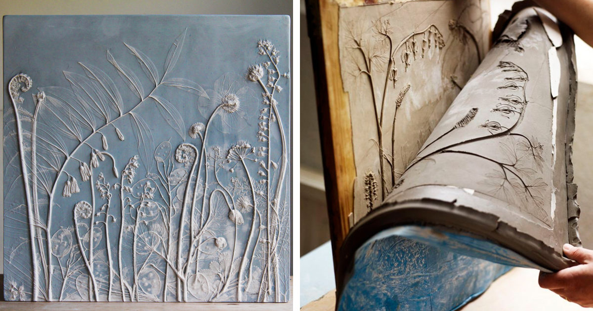 Artist Creates Flower Fossils By Casting Plants In Plaster