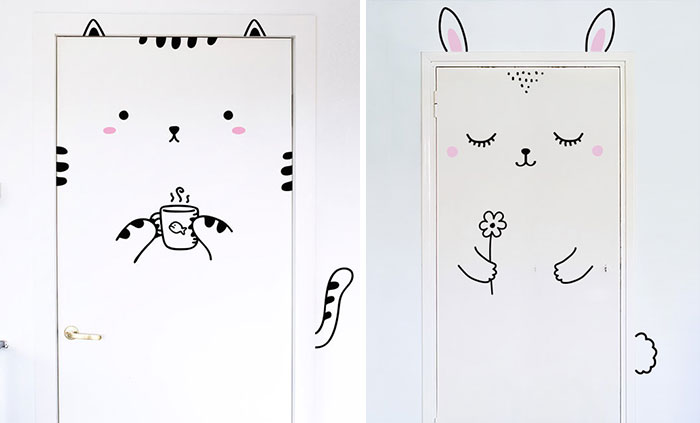 Cute Door Stickers Will Transform Your Doors Into Animals