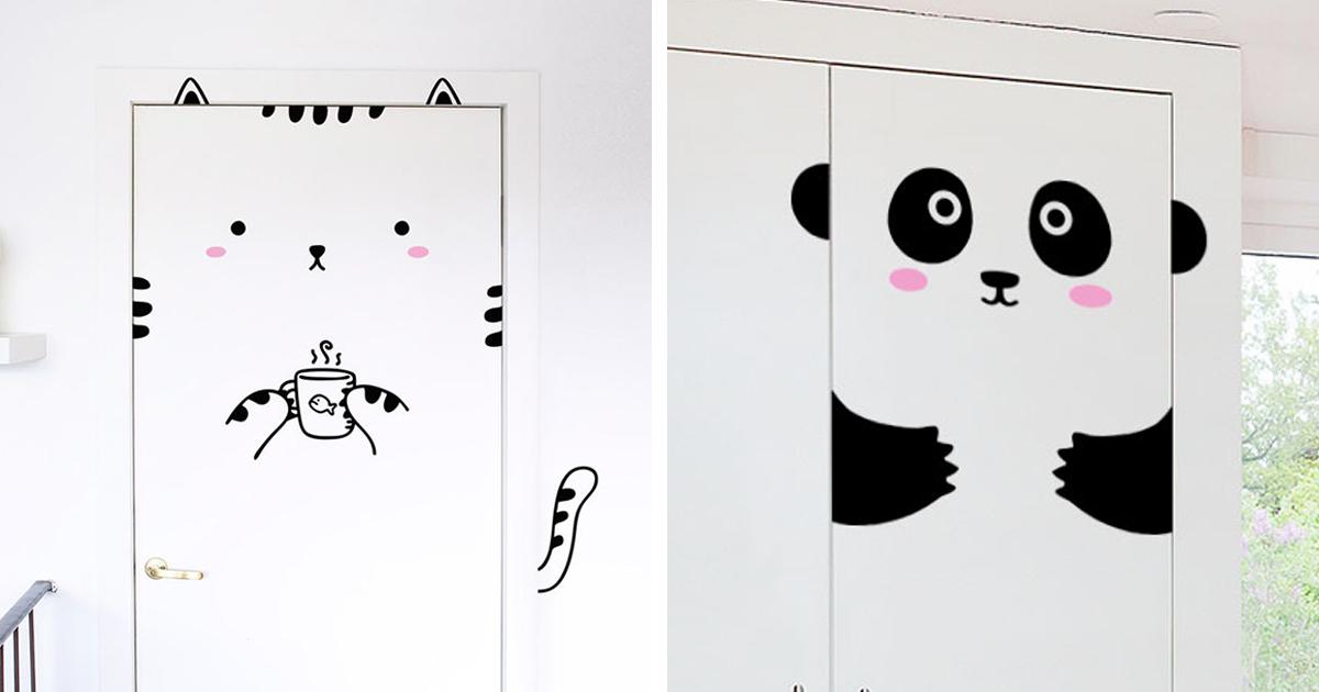 Cute Door Stickers Will Transform Your Doors Into Animals