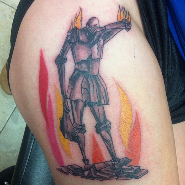 16 book inspired tattoos for bookworms bored panda for Fahrenheit 451 tattoo