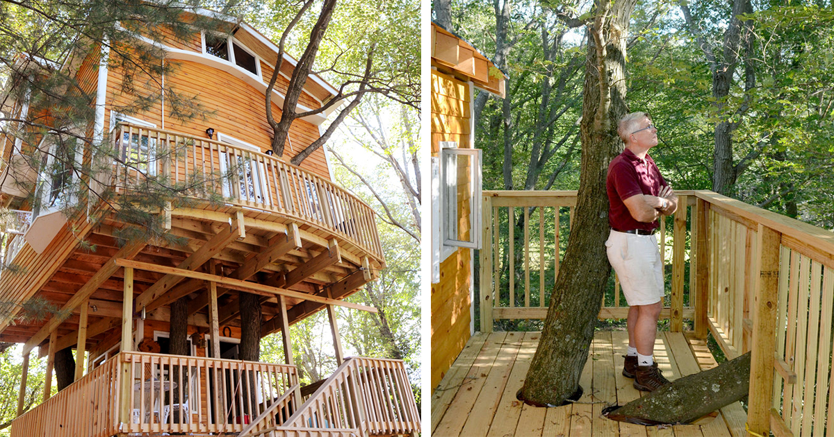 Grandfather Builds Epic 3-Story, 40Ft Treehouse For His Grandkids