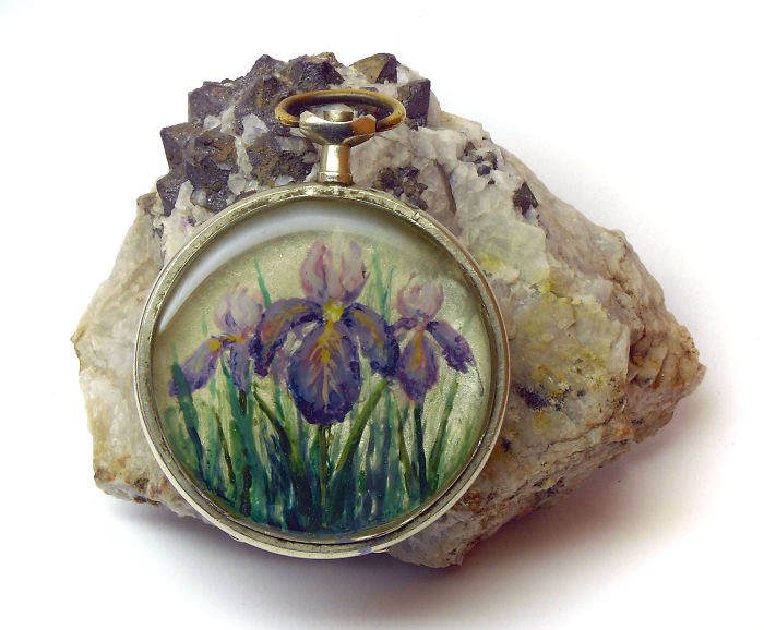 Hand-painted Flowers In Pocket Watches