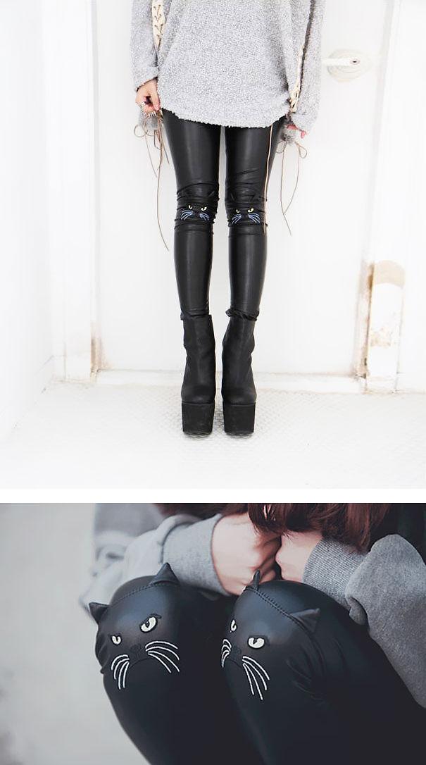 Cat Face Leather Leggings