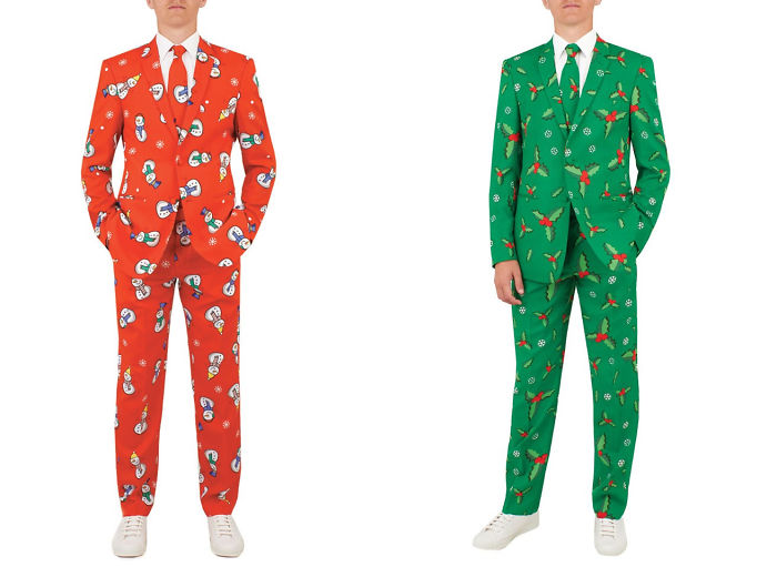Company Turns Wrapping Paper Into Christmas Suits