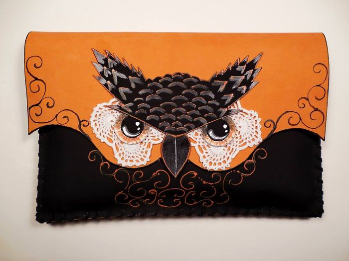 I Use 3D And Collage Techniques To Create Unique Handmade Leather Clutch Bags