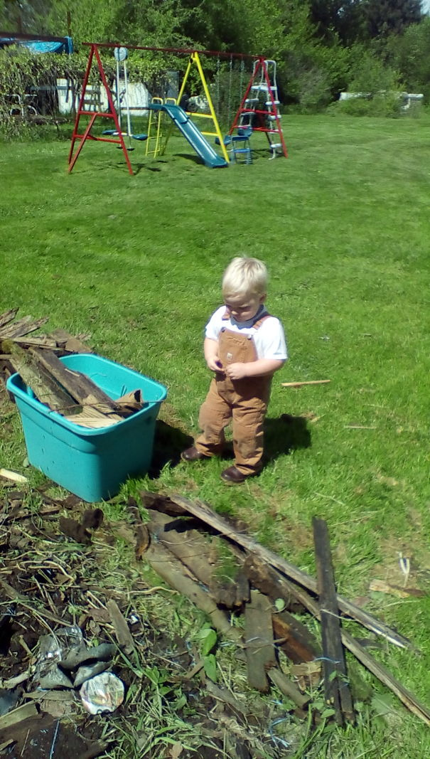 My 2 Yr Old Son Picking Loose Wood Up Around The Yard So His Papa Can Mow.
