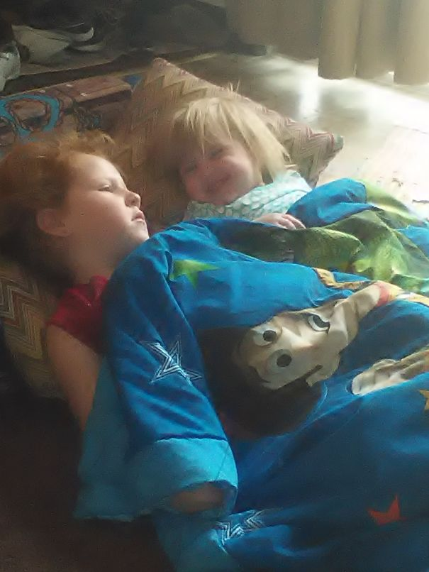 My 3 Year Old Niece And Her Silly Adorable 1 Year Old Sister Cuddling ;)