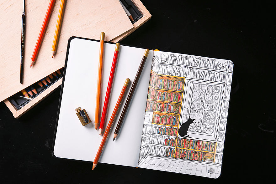 Coloring notebook with beautiful coloring pages helps for Notebook with colored pages