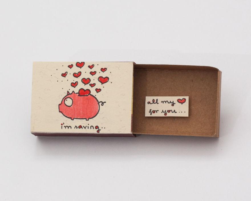 Piggy Bank I'm Saving All My Love for You Tiny Matchbox Card