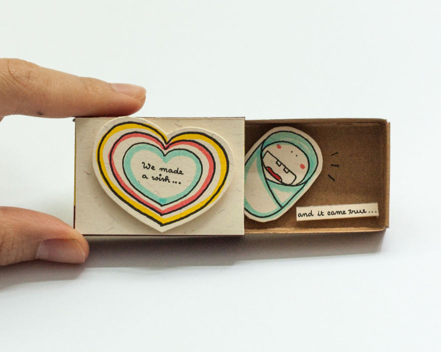 Baby Announcement Surprise Card made from Matchbox by Artists from Shop3XU