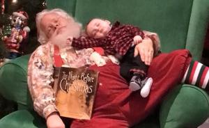 Baby Falls Asleep While Waiting In Line To See Santa; Santa Tells Parents Not To Wake Him