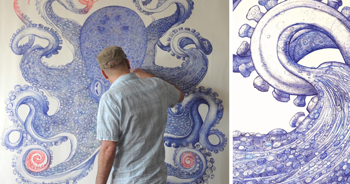 artist spends 1 year using only discarded ballpoint pens to draw