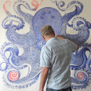 Artist Spends 1 Year Using Only Discarded Ballpoint Pens To Draw Giant Octopus