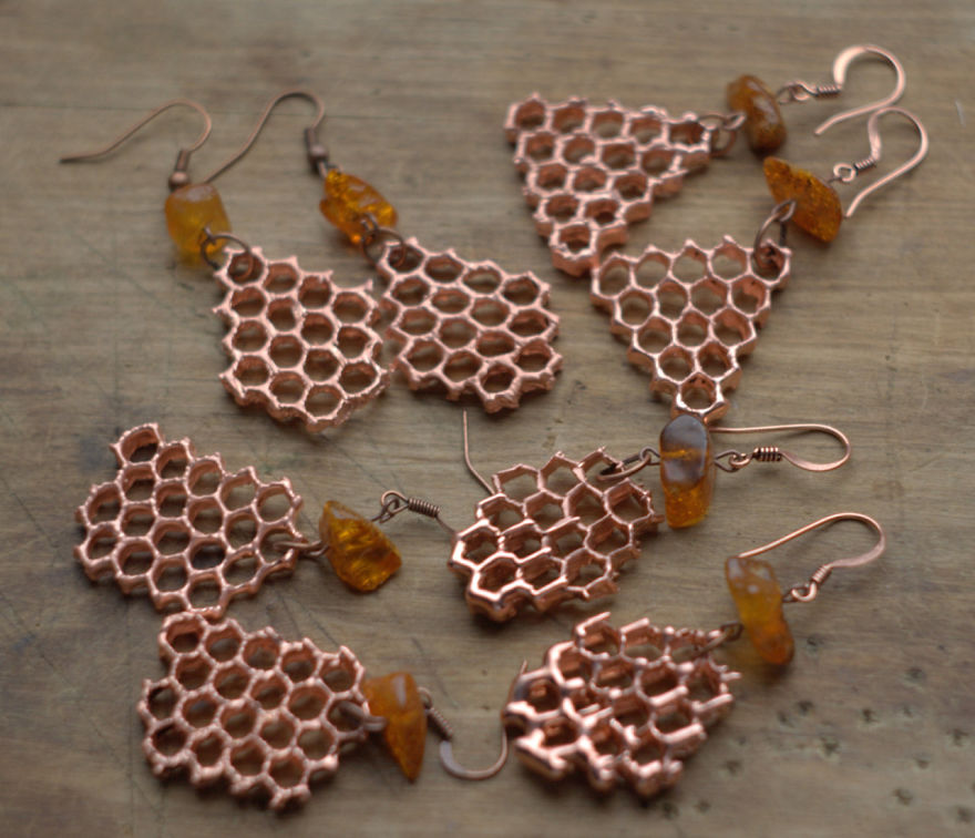 objects natural jewelry electroforming earrings using honeycomb nature object electroformed copper method panda covered