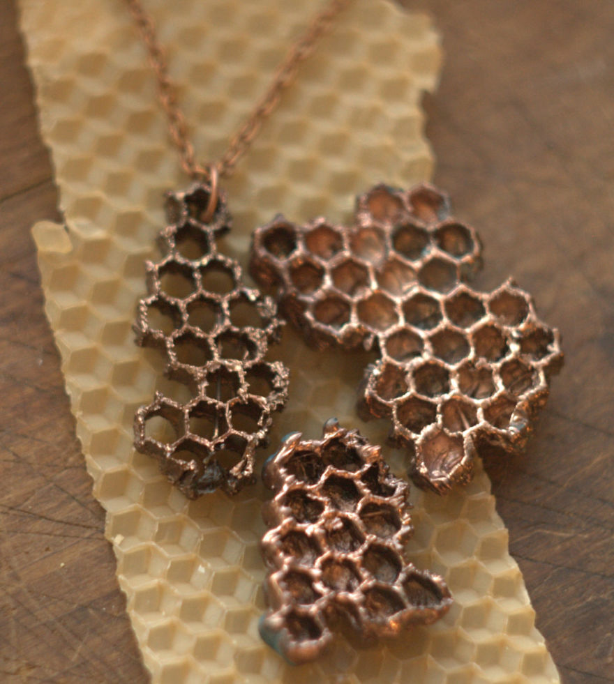 natural jewelry honeycomb copper electroformed objects electroforming necklace honey nature metal pendant bee etsy comb boho object jewellery eco friendly