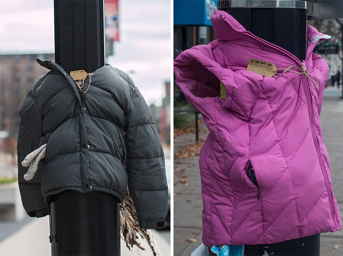 These Kids In Canada Tied Coats To Street Poles To Help Homeless Prepare For Winter