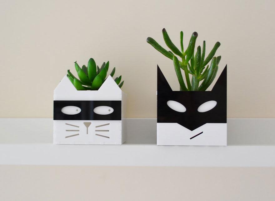 Superhero Or Supervillain Cat Planters