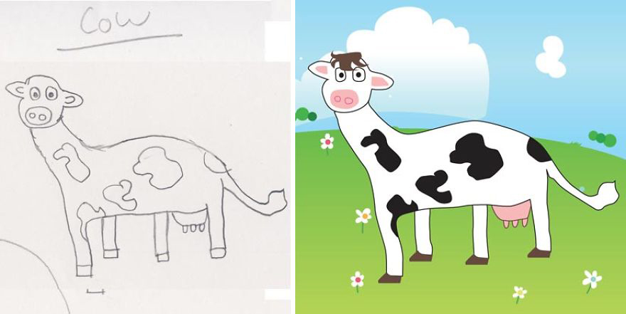 Dad Re-Draws His Daughter's Pencil Sketches