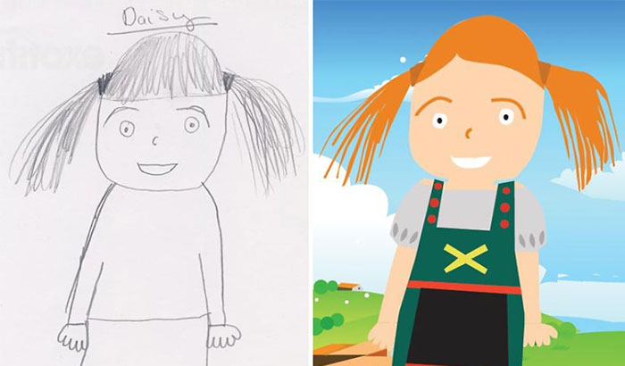 Dad Re-Draws His Daughter's Pencil Sketches