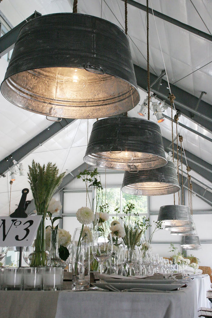 Light Fixture From A Galvanized Bucket