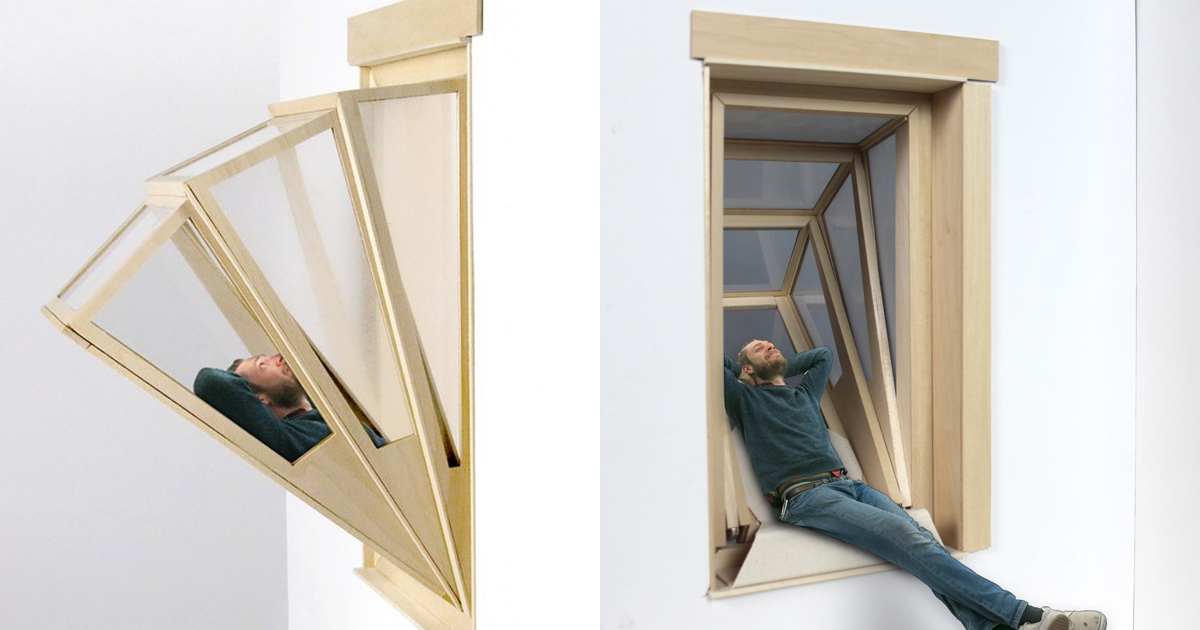 More sky window turns into balcony to give small for Cool window designs