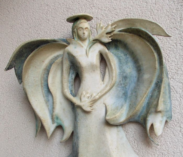 Flaying Angel, Hanging On The Wall Sculpture. Christmas Decoration, Holiday Decor.