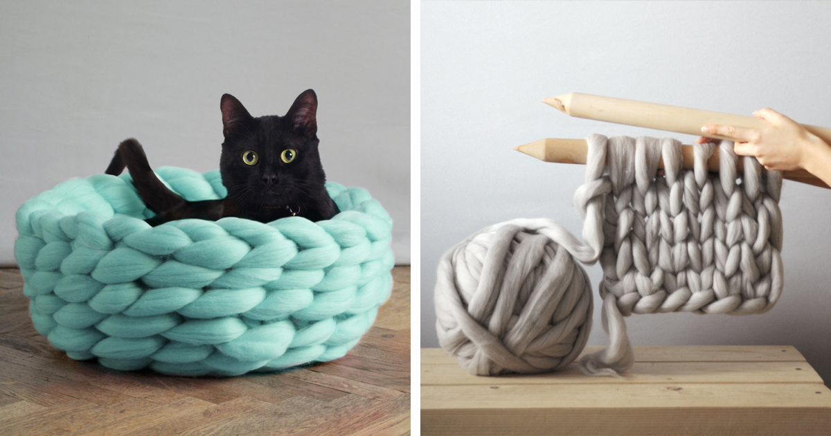 Extremely Chunky Pet Beds Knit By Anna Mo