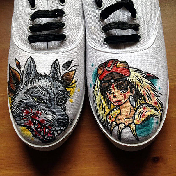 Hand Painted Princess Mononoke Inspired Shoes