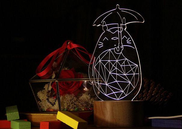 Totoro With Umbrella Wood Lamp