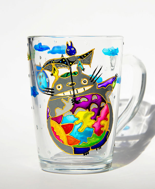 My Neighbor Totoro Cup Painted In Mosaic Style