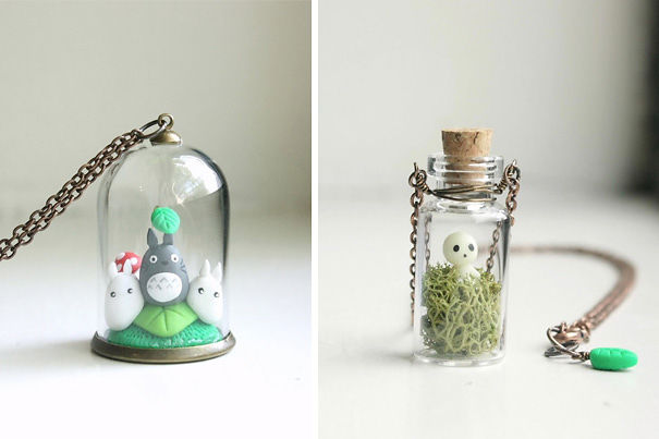Totoro And Kodama Tree Spirit Terrarium Necklaces