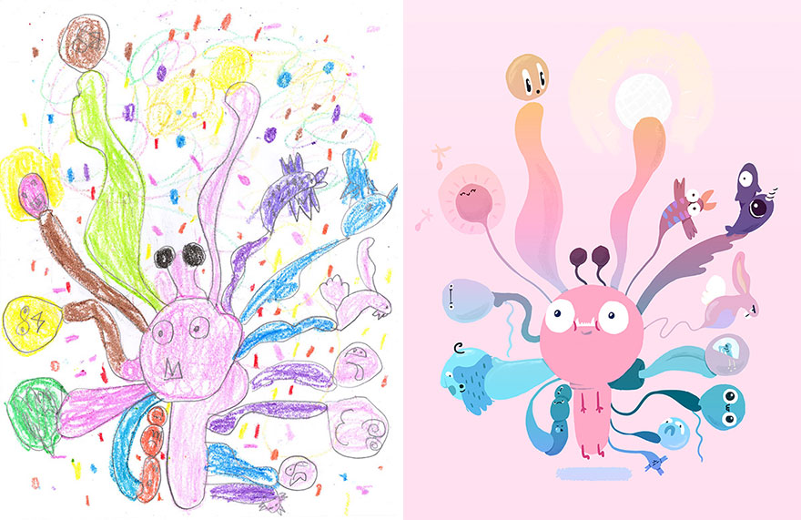 100 Artists Recreate Kids Monster Doodles In Their Unique Styles