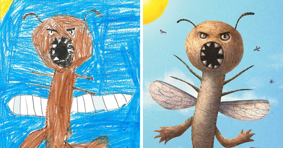 100 artists recreate kids monster doodles in their unique styles bored panda