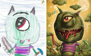 100+ Artists Recreate Kids' Monster Doodles In Their Unique Styles