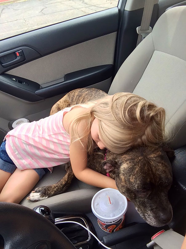 She Found Out Our Dog Had To Get Shots, So Wile We Were Waiting In The Parking Lot Of The Vet Our Daughter Hugged Her And Told Her That Shots Hurt But It Will All Be Okay And That She Will Take The Dog To The Toy Store If She Was A Good Girl